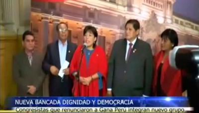 """Congresistas renuncian a Gana Perú y forman nueva bancada """"Dignidad y Democracia"""""""