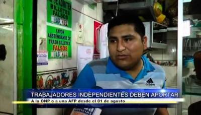 Trabajadores independientes deben aportar a ONP o una AFP desde el 1 de agosto