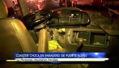 En San Juan de Miraflores, choque de una coaster en Puente Alipio deja 12 personas heridas