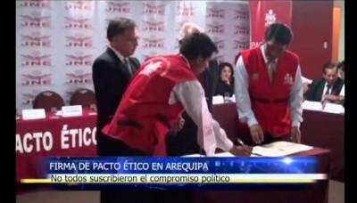 Candidatos a la Presidencia Regional de Arequipa firmaron pacto ético
