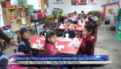 Ministra Paola Bustamante supervisa Qali Warma en Villa María del Triunfo