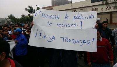 Marcha de transportistas del Callao exigiendo ingreso al Corredor Azul