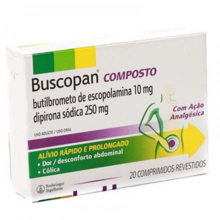 Buscopan Composto Butilbrometo de Escopolamina Dipirona Sódica Uso Adulto - Contém 20 Comprimidos. Boehringer