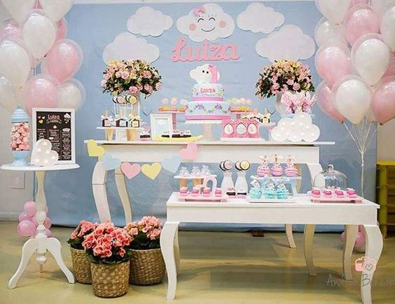 Chá de beb u00ea nuvem fofura em dobro para a festa u2013 EuNeném Blog -> Decoração Chá De Bebê Nuvem