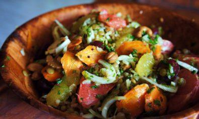 Receita de Salada de Laranja, Funcho, Lentilha e Arroz Integral