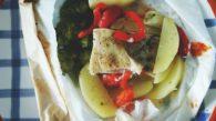 Receita de Papillote de Bacalhau com legumes