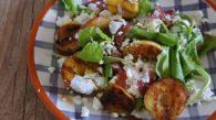 Receita de Salada de Pêssego Grelhado com Copa, Ricota e Rúcula