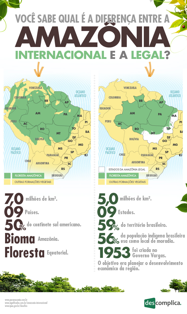 Um infográfico que vai te ensinar a diferença entre a Amazônia Internacional e a Amazônia Legal. Preparado?