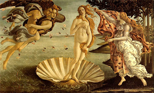 O nascimento da Vênus, de Sandro Botticelli. Obra renascentista com características de influência antropocêntrica.