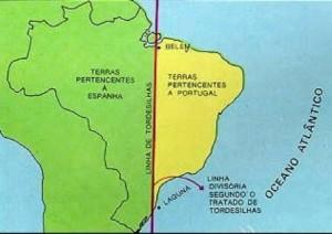 Domínio português determinada pelo Tratado de Tordesilhas.