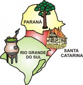 Estados que compõem a Região Sul – Paraná, Santa Catarina e Rio Grande do Sul.