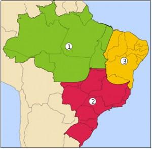 Regiões geoeconômicas do Brasil: 1. Amazônia, 2. Centro-Sul e 3. Nordeste