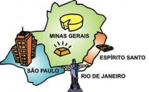 Estados que compõem a Região Sudeste – Minas Gerais, Espírito Santo, Rio de Janeiro e São Paulo.