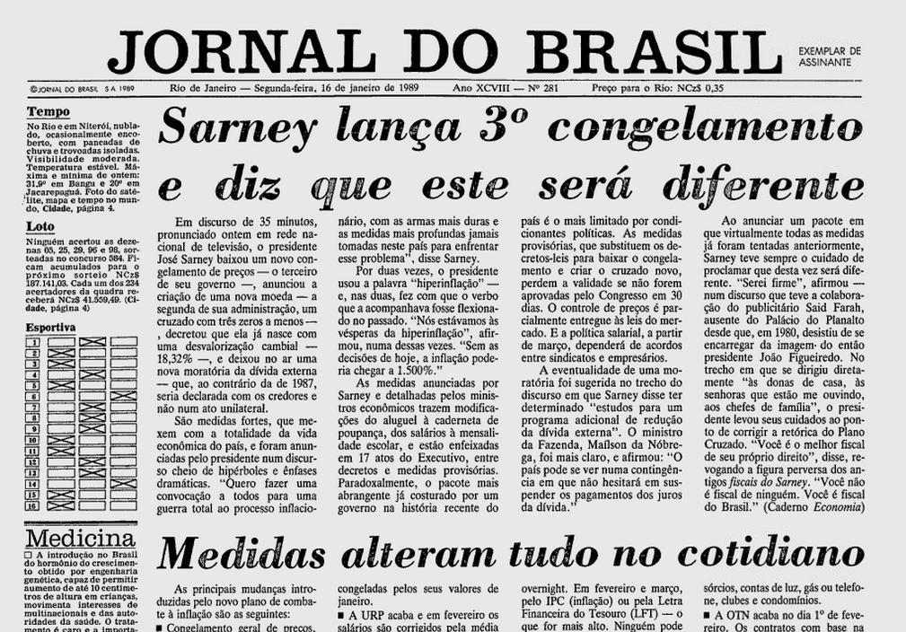 Capa do Jornal do Brasil em 1989.
