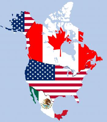 Mapa representando os países que fazem parte do NAFTA: Estados Unidos, Canadá e México