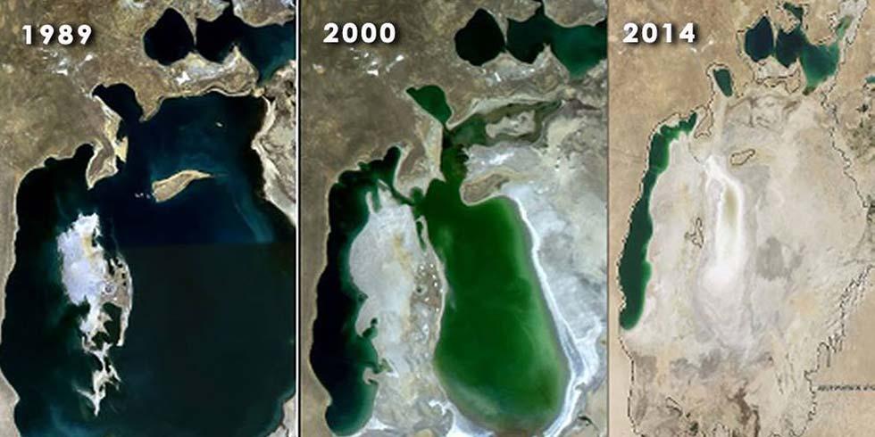Mar de Aral na Ásia Central, considerado uma das maiores catástrofes provocadas pelo homem devido à retirada de água para a irrigação de cultivos agrícolas.