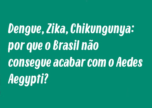 Tema de Redação: Dengue, Zika, Chikungunya - por que o Brasil não consegue acabar com o Aedes Aegypti?