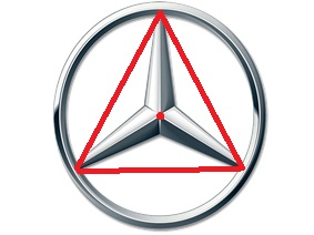 """Oponto vermelho do centro é o baricentro desse triângulo, pois cada """"haste"""" prolongada cortaria exatamente na metade do lado oposto."""