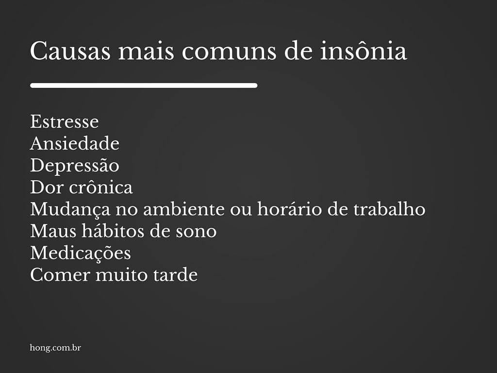 causas comuns de insonia