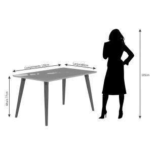 Mesa Adele 130cm x 80cm - Madeira/Off White - Cimol