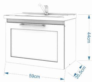 Gabinete De Banheiro 100% Mdf Hibisco 59 Cm Porta Vidro Reflecta Branco - Mgm