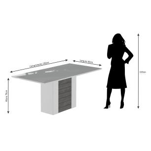 Sala Jantar Rafaela 180cm x 90cm 6 Cad. Vanessa - Savana/Offwhite/Chocolate - Cimol