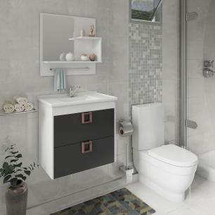 Gabinete De Banheiro 100% Mdf Lirio 59 Cm Com Espelho Branco/Preto - Mgm
