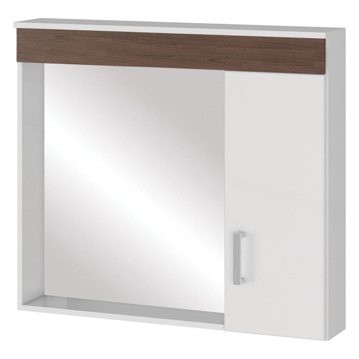 Espelheira para banheiro Madri Branco/Castanho - Mgm