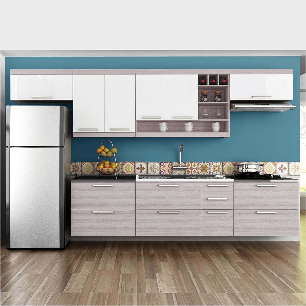 Cozinha Completa Gold 1 - Branco Amadeirado - Nesher