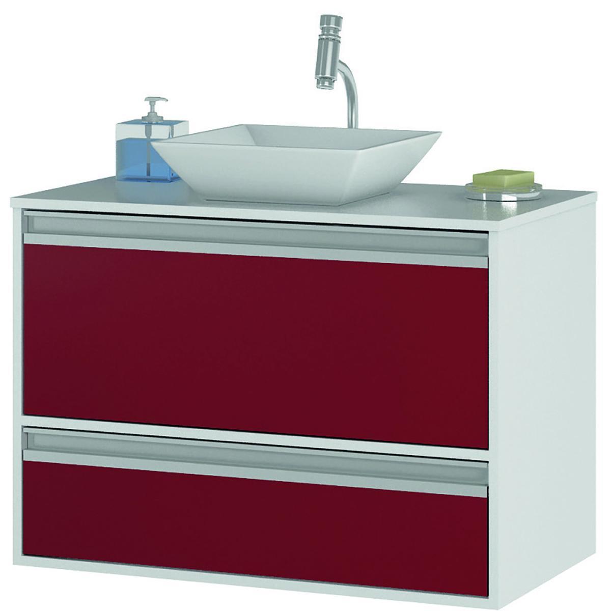 Gabinete de Banheiro Paris - Branco/Vermelho - Mgm