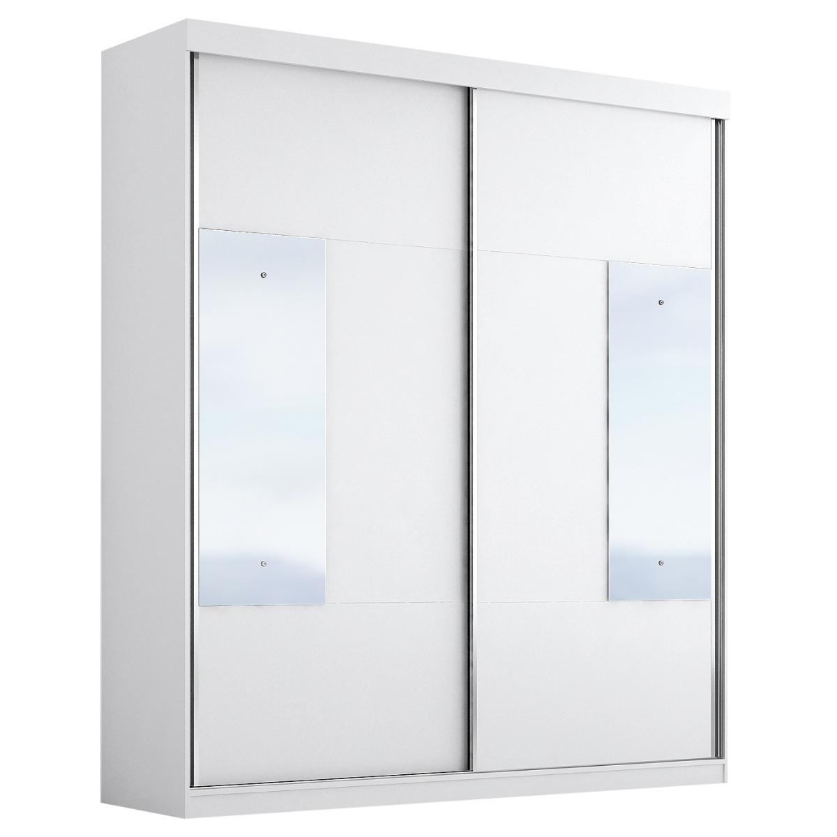 Roupeiro Floripa Plus 2 Portas Slide Com Espelho - Branco - Panan