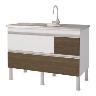 Balcão de cozinha Prisma Para Pia 120 cm  - Branco/Castanho - Mgm