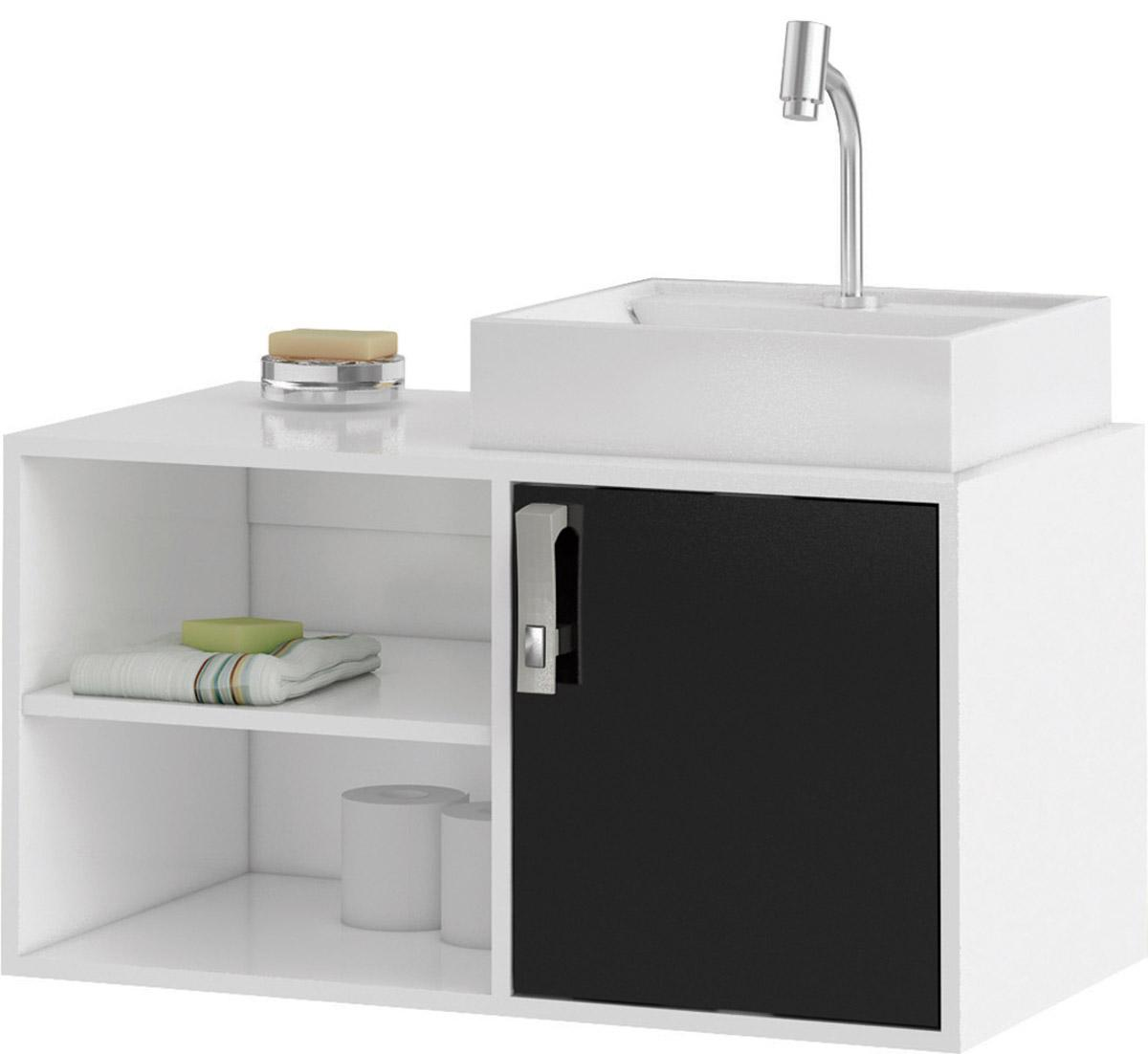 Gabinete de Banheiro Valencia - Branco/Preto - Mgm