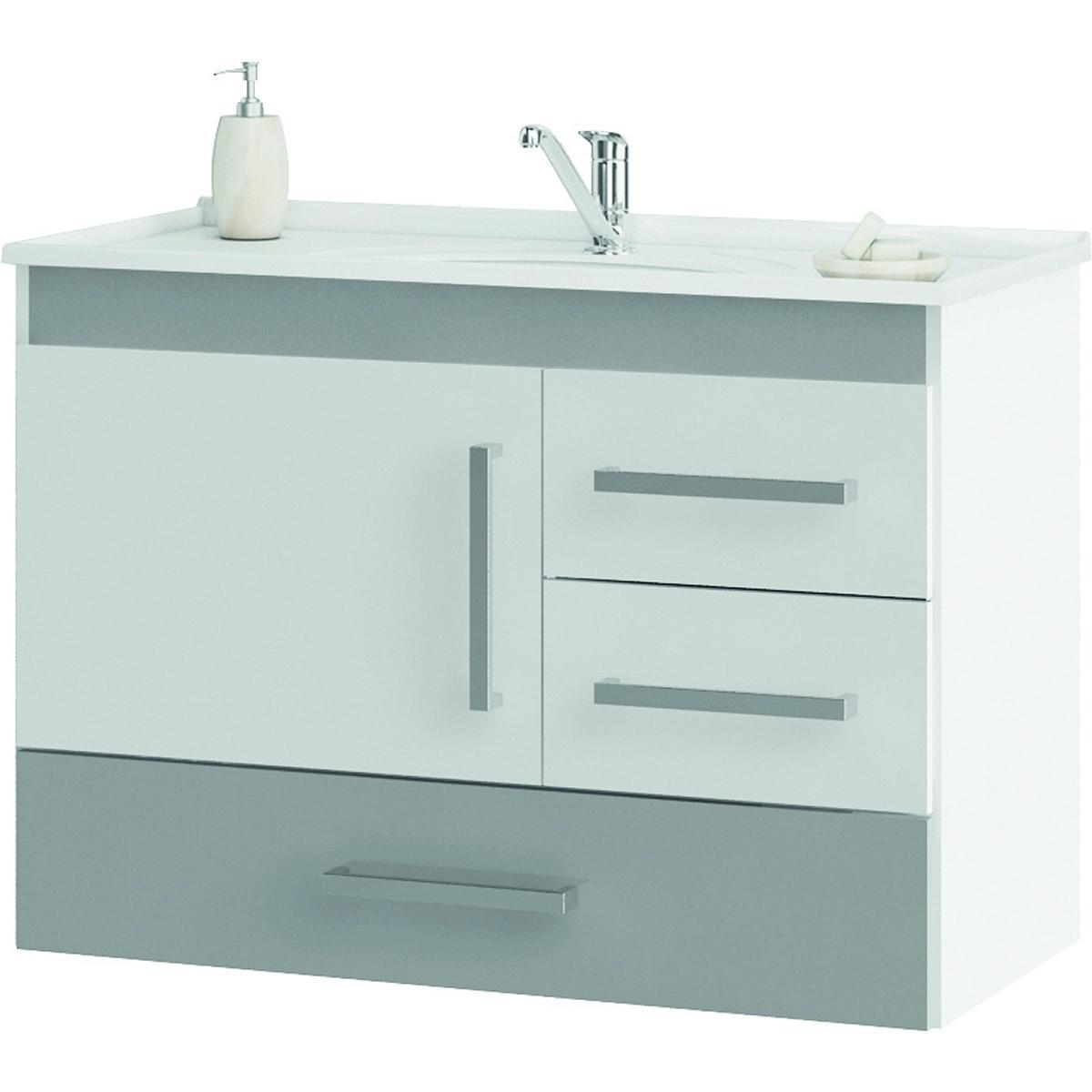 Gabinete de Banheiro Madri - Branco/Cinza Grey - Mgm