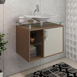 Gabinete De Banheiro 100% Mdf Lagos 60 Cm Sobrepor Amendoa/Off White - Mgm