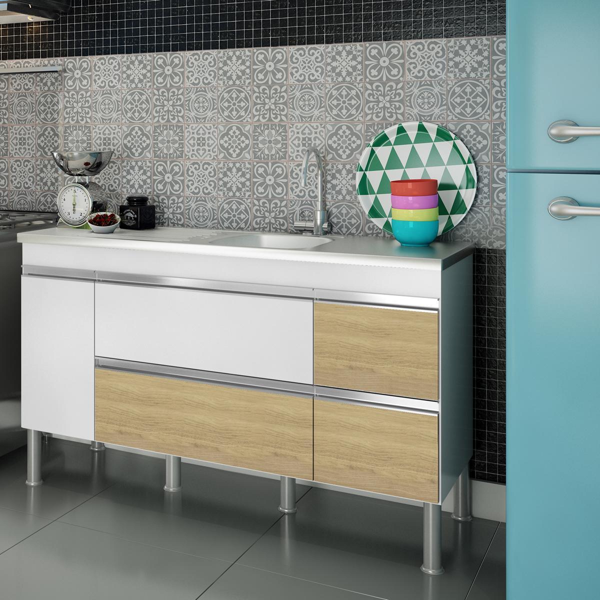 Balcão de cozinha Prisma Para Pia 160 cm - Branco/Nogueira - Mgm
