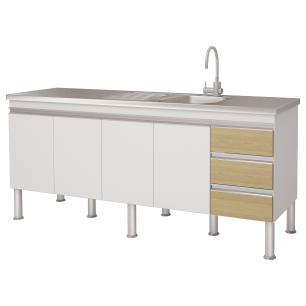 Balcão de cozinha Ibiza Para Pia 180 cm - Branco/Nogueira - Mgm