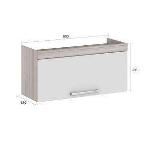 Armário de cozinha Gold 1 Porta Basculante 80 cm - Branco/Amadeirado - Nesher