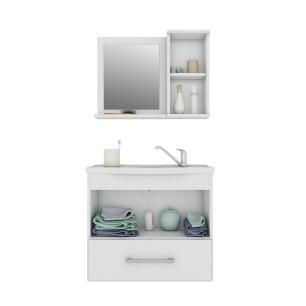 Gabinete De Banheiro 100% Mdf Atenas 65 Cm Com Espelho Carvalho/Off White - Mgm
