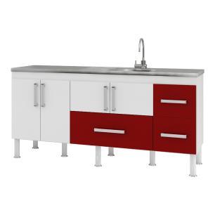 Balcão de cozinha Bari Para Pia 180 cm - Branco/Vermelho - Mgm