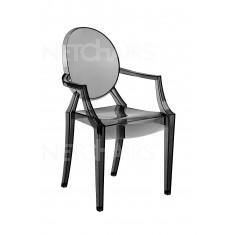 Cadeira Acrilico Com Braço Cor Fumê