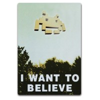 Adesivo removível I want to believe Space Invaders