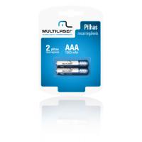 Pilha Palito Recarregável AAA Kit com 2 - Multilaser