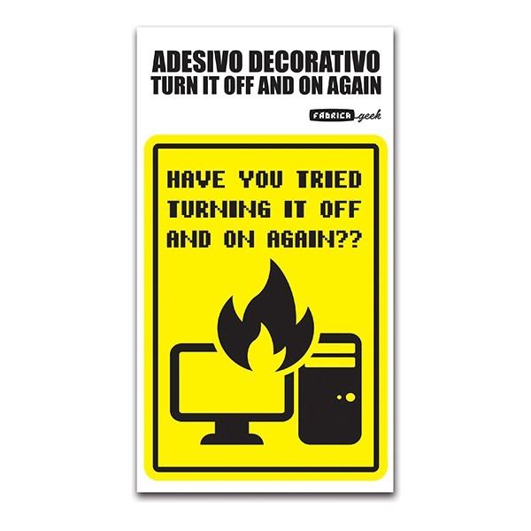 Adesivo removível Turn it off and on again