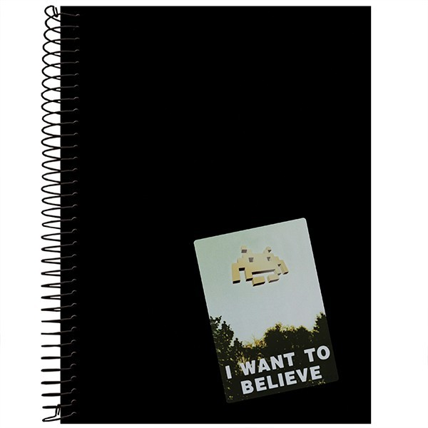 Adesivo removível para caderno I want to believe Space Invaders