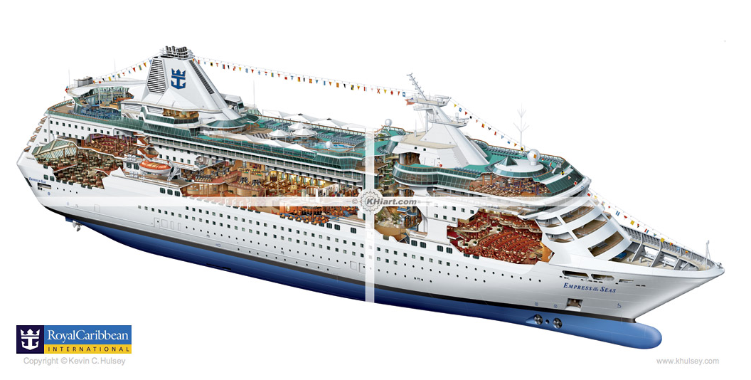 RCCL Empress of the Seas cruise ship cutaway Desenhos técnicos.