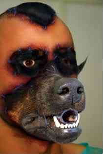fantasia 19 Artista costura pedaços de cachorro assassinado no próprio corpo