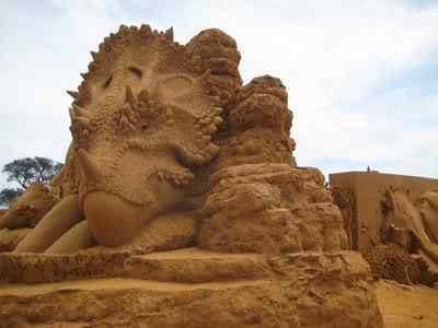 Dino 02 Incríveis esculturas de areia