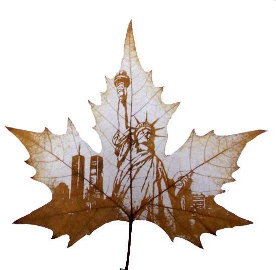 StatueofLiberty Leaf carving   a arte de esculpir em folhas