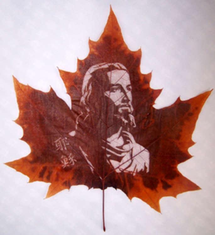 ZADNRHHVCT1BWU3VY9 Leaf carving   a arte de esculpir em folhas